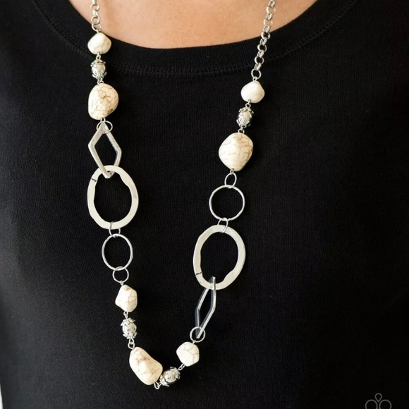 Thats TERRA-ific! - White Sandstone Necklace/Ear